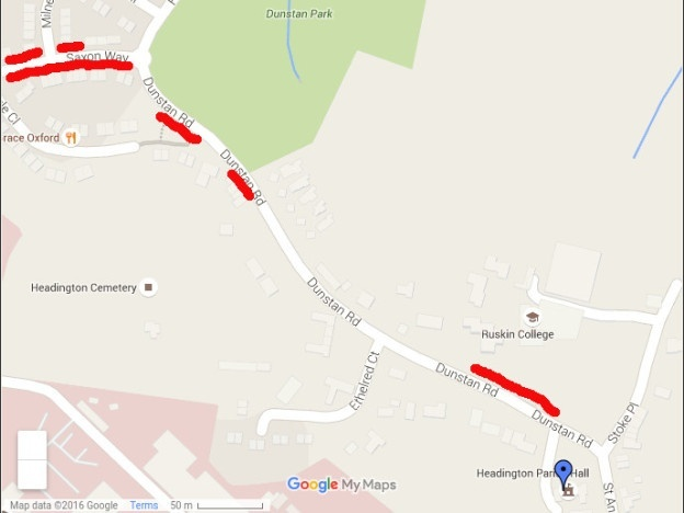 Map of parking options for day retreat